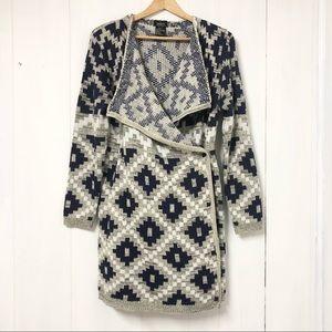 Guilty Knitwear Geometric Long Line Cardigan Sz M